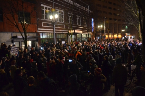 Occupy Portland protesters march after being violently evicted from Shemanksy Park