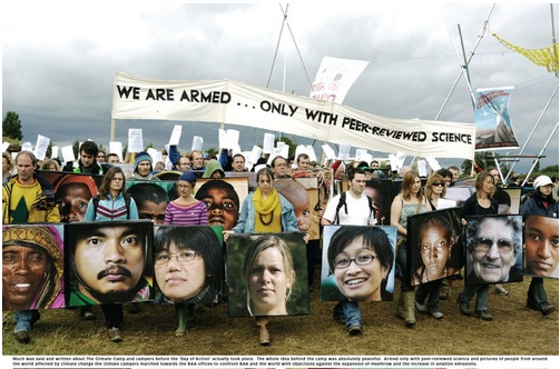 "Climate Camp's ""Face Shields"" 2007, precursor to the Occupy movement"
