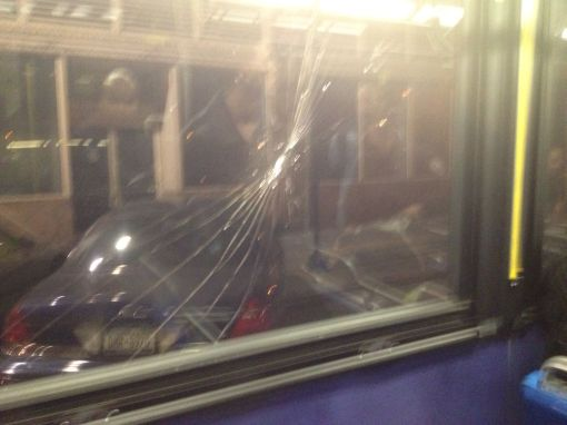 Bus window broken when NYPD smashed protestors head into it